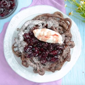 Chocolate Funnel Cake with Cherry Compote