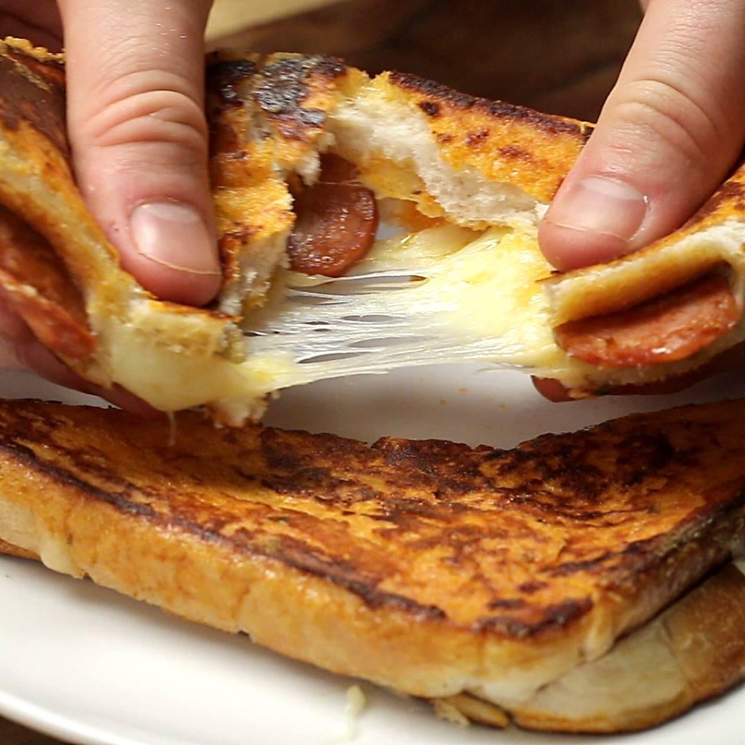 Eggy Bread Pizza Sandwich Teenyrecipes