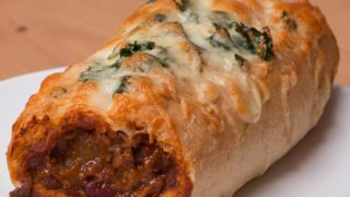 Chili Stuffed Garlic Bread