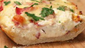 Ham & Mushroom Garlic Bread Boats