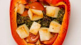Pesto And Halloumi Stuffed Peppers